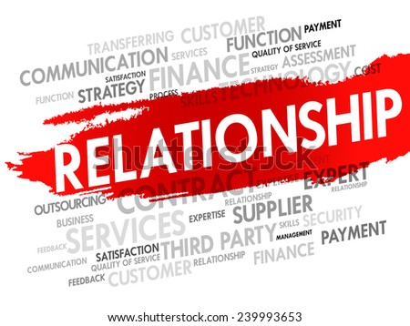 Word cloud of business Relationship related items, presentation background - stock vector