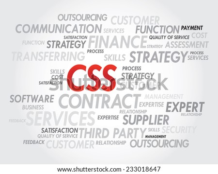 Word cloud of CSS related items, presentation background - stock vector