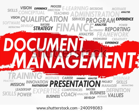 Word cloud of Document Management related items, vector background - stock vector