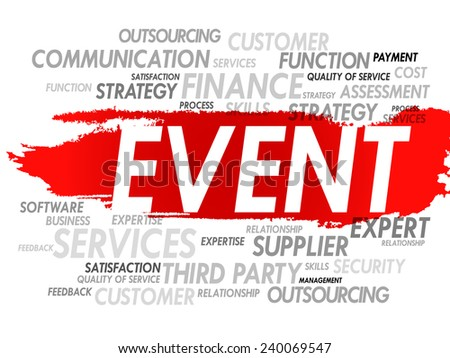 Word cloud of EVENT related items, presentation background - stock vector