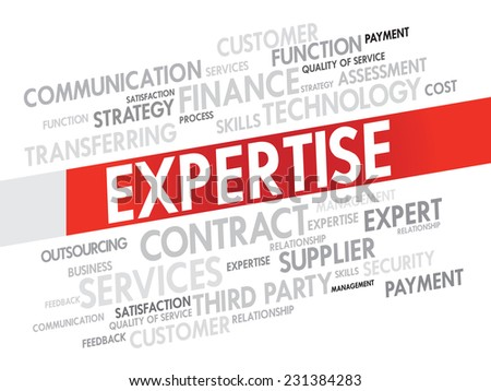 Word cloud of Expertise related items, presentation background - stock vector