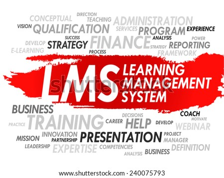 Word cloud of Learning Management System (LMS) related tags, vector business concept - stock vector