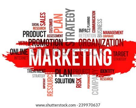 Word cloud of marketing related items, vector business concept - stock vector