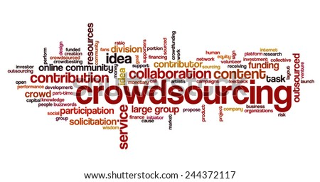 Word cloud related to crowd sourcing and crowd funding - stock vector