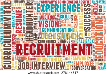 """Word cloud related to job interview, employment and recruitment. Word """"recruitment"""" emphasized. - stock vector"""