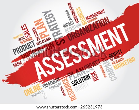 Word Cloud with Assessment related tags, business concept - stock vector