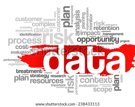 Word Cloud with Data related tags, vector business concept - stock vector