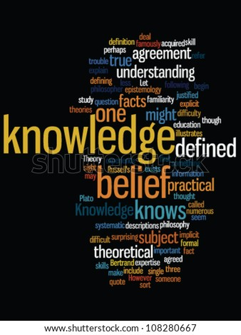 Word cloud with knowledge concept on black - stock vector