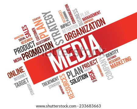 Word Cloud with Media related tags, vector business concept - stock vector