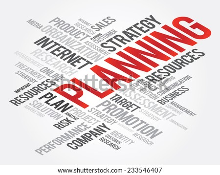 Word Cloud with PLANNING related tags, vector business concept - stock vector