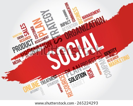 Word Cloud with Social related tags, business concept - stock vector