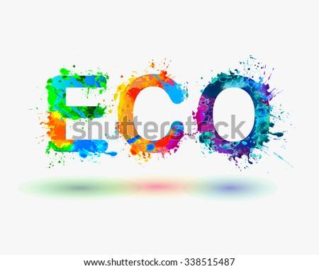 "Word ""ECO"" Rainbow splash paint - stock vector"