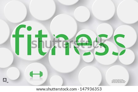 "Word ""fitness"" in circles - stock vector"