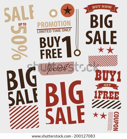 Word for Price tag, sale coupon, voucher. Vector illustration. - stock vector