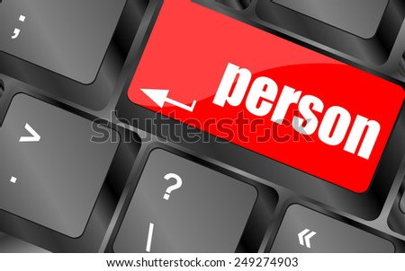 word person on computer keyboard key - stock vector