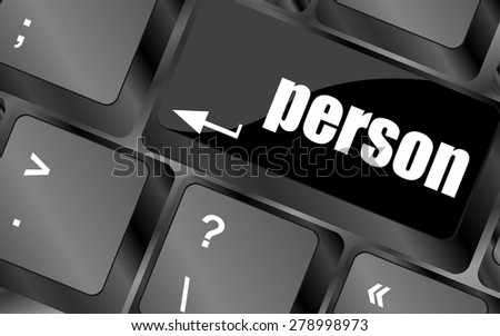 word person on computer keyboard key vector - stock vector