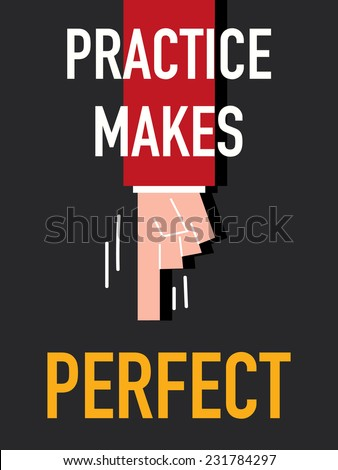 Word PRACTICE MAKES PERFECT - stock vector