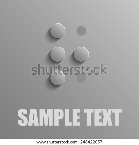 Word R in Braille on blue background - stock vector