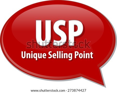 word speech bubble illustration of business acronym term USP Unique Selling Point vector - stock vector