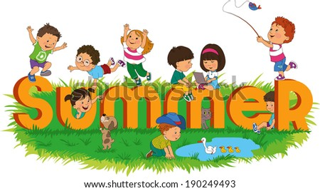 Word summer with colorful and happy kids - stock vector