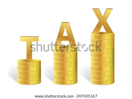 Word TAX on Gold Coin Isolated, Vector illustration - stock vector