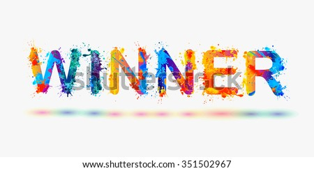 "Word ""Winner"". Rainbow splash paint - stock vector"
