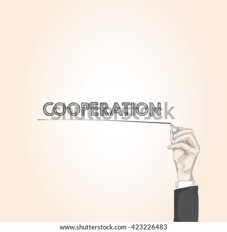 word written by hand COOPERATION