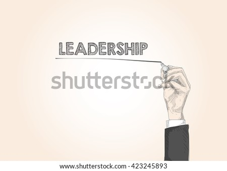 word written by hand LEADERSHIP