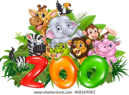 Word zoo with cartoon wild animal - stock vector