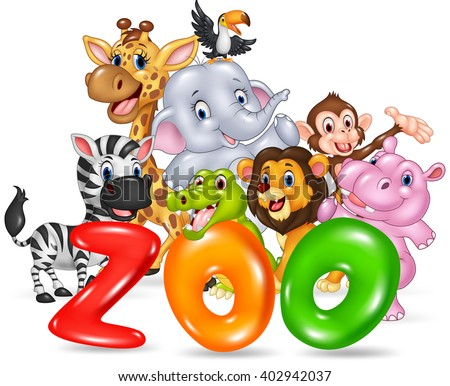 Word zoo with happy cartoon wild animal africa - stock vector