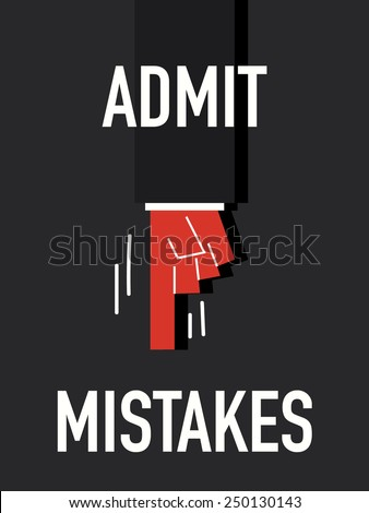 Words ADMIT MISTAKES - stock vector