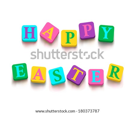 "Words ""happy easter"" with colorful blocks isolated on a white background. Description with bright cubes. Easter greeting card. Holiday banner. Vector illustration EPS 10. - stock vector"