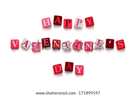 """Words """"happy valentine's day"""" with colorful blocks isolated on a white background. Description with bright cubes. Valentine's day card. Vector illustration EPS 10. - stock vector"""