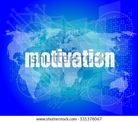 words motivation on digital screen, job and business concept vector illustration - stock vector