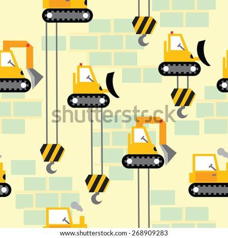 Work area construction vehicles seamless pattern . - stock vector