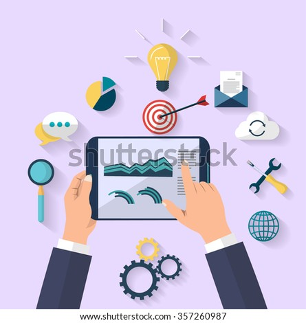 work concept - business concept - top view - human hands holding digital tablet that show a graphs of business change - Set of flat design icons for Business, SEO and Social media marketing - stock vector