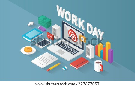 Work day - stock vector