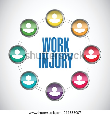 work injury people connection illustration design over a white background - stock vector