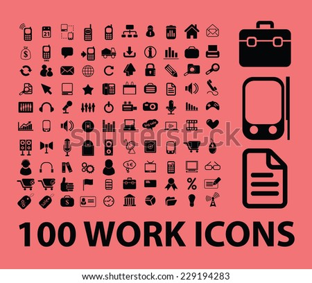 work, office icons, signs, illustrations, vectors set - stock vector