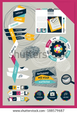 Work office web layout. Colorful graphic flat template. Folder, sticker, graph, tab, data, bubbles set. Vector background.  - stock vector
