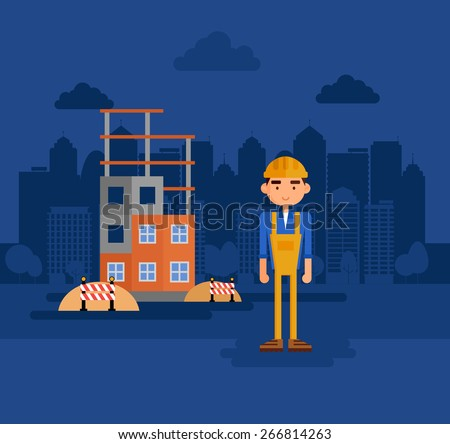 Work on the construction site. - stock vector