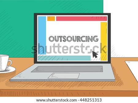 Work on the laptop screen - stock vector