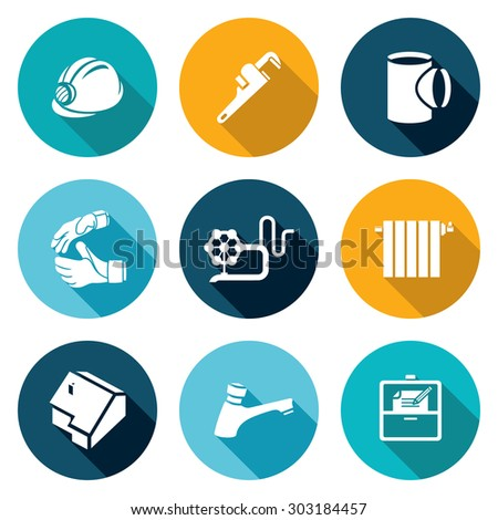 Work plumber at home Icons Set. Vector Illustration. Isolated Flat Icons collection on a color background for design - stock vector