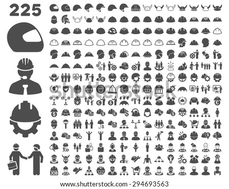 Work Safety and Helmet Icon Set. These flat icons use gray color. Vector images are isolated on a white background.  - stock vector