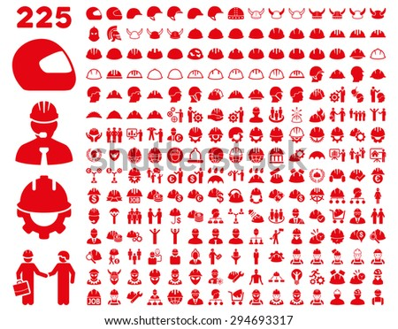 Work Safety and Helmet Icon Set. These flat icons use red color. Vector images are isolated on a white background.  - stock vector