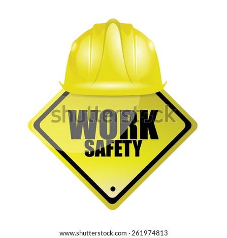 work safety helmet and sign concept illustration design over white - stock vector