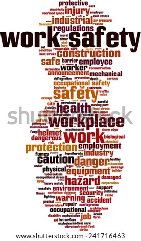 Work safety word cloud concept. Vector illustration - stock vector