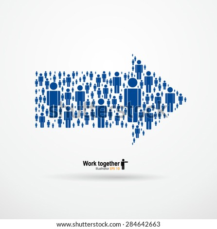 Work together,Large group of people in the form of arrows, business, and technology.Vector Graphics - stock vector