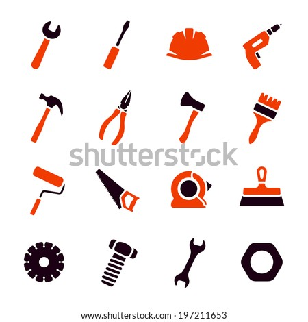 Work tools icon set - stock vector