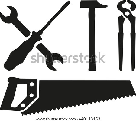 Work tools - screwdriver, wrench, hammer, saw, plier - stock vector